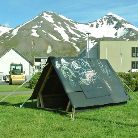 Chalkboard tent
